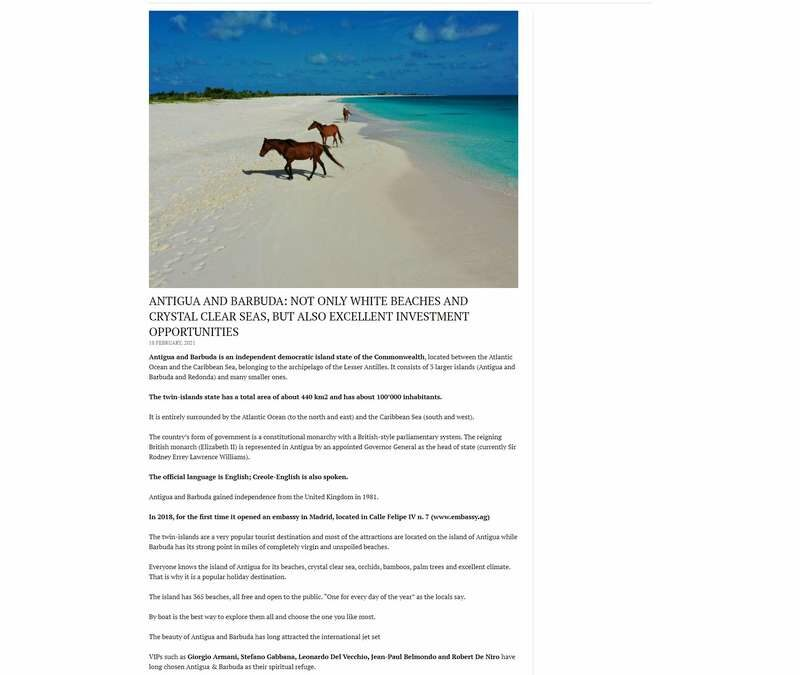 Antigua And Barbuda: Not Only White Beaches And Crystal Clear Seas, But Also Excellent Investment Opportunities