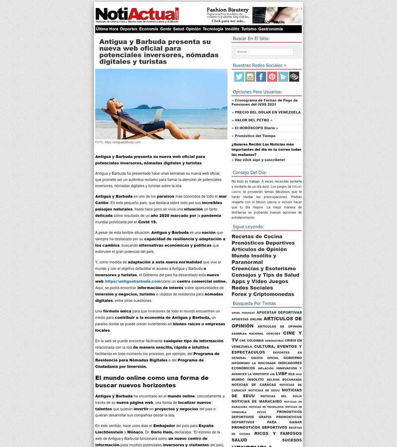 Antigua y Barbuda presenta su nueva web oficial para potenciales inversores, nómadas digitales y turistas