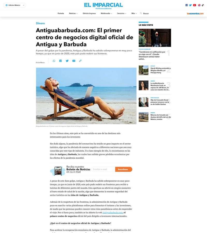 Antiguabarbuda.com: El primer centro de negocios digital oficial de Antigua y Barbuda