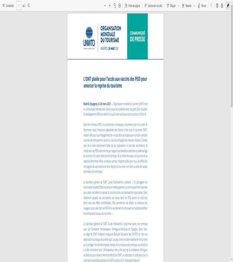 L'OMT plaide pour l'accès aux vaccins des PEID pour  amorcer la reprise du tourisme