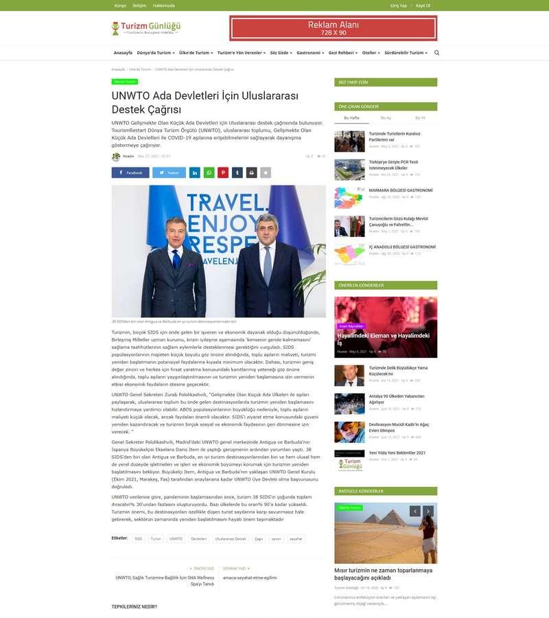 UNWTO Ada Devletleri İçin Uluslararası Destek Çağrısı
